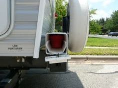 Organizational Ideas RV Mods: Sewer Hose Storage – Vynil fence post & gutters Missed Opportunity - A Hose Storage, Camper Storage, Trailer Storage, Rv Shower Head, Cheap Rv, Rv Mods, Rv Trailers, Camping Trailers, Travel Trailers