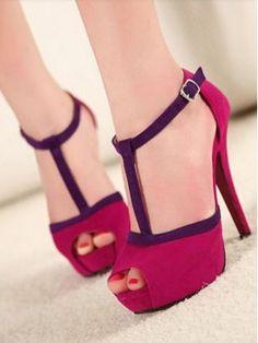 Bestseller+Ladies+Fashion+Peep-toe+T-strap+Thin+Heels+Pumps