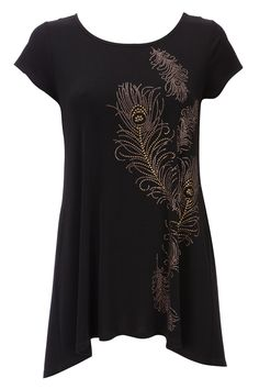 BLACK FEATHER PRINT EMBELLISHED TUNIC