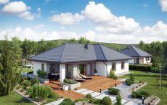 DOM.PL™ - Projekt domu ATK TK133 CE - DOM AK1-66 - gotowy koszt budowy Villas, Palm Beach, Bungalow, Malm, Interior Exterior, Gazebo, Outdoor Structures, How To Plan, Outdoor Decor