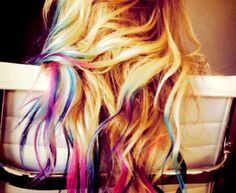 """Hair chalking; colors without commitment! Two types of """"chalks"""" used; 1. powdered chalks or 2. pastels. Both wash out right away!"""