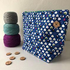 Medium Sushi Kawaii Pandas Project Bag, Zipper Pouch for Knitting and Crochet