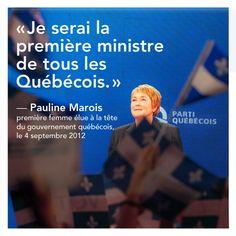 Pauline Marois, première femme Première Ministre du Québec
