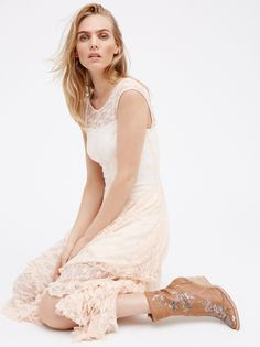 French Courtship Slip | Sheer lace slip dress with high neckline at front and low
