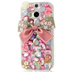Handmade Floral Bow Crystal Bling Phone Case for HTC Htc Phone Cases, Glitter Mirror, Mobile Cases, Galaxy Note, Protective Cases, Iphone 6, Shell, Sparkle, Bling