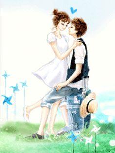 A Animated GIFs image from glitter-graphics.com Korean Anime, Lovely Girl Image, Manga Cute, Cartoons Love, Cute Korean Girl, Avatar Couple, Gifs, Glitter Graphics, Cute Anime Couples