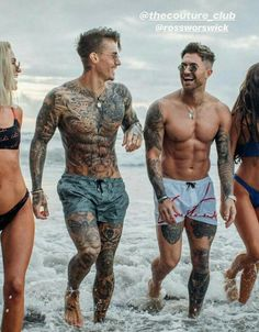 guys on the beach. guys on the beach. Johnny Edlind, Body Art Tattoos, Sleeve Tattoos, Full Body Tattoo, Tatoos, Full Leg Tattoos, Small Chest Tattoos, Trendy Tattoos, Tattoos For Guys