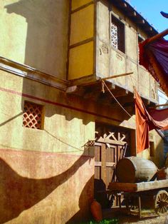 Roman street scene from filming of the Roman Mysteries at Boyana Studios, Bulgaria, 2007.