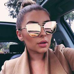 New 2017 Flat Top Rose Gold Men Women Mirror Sunglasses Fashion Brand Designer Cool Sun Glasses wholesale Female