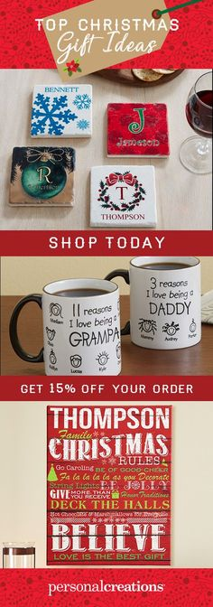 Give joy this Christmas! Personalized gifts make everyone happy. Shop today and get 15% off your order.