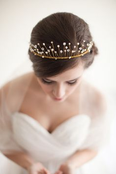 Tiara, Bridal Crown, Wired Crystal and Pearl Crown, Wedding Tiara - Celeste MADE TO ORDER