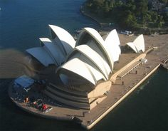 The amazing Sydney Opera House shown from the air.