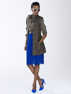 Banana Republic blue laser-cut pencil skirt, cargo vest, and blue heels