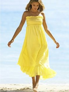 Beach wear... Long smocked yellow dress