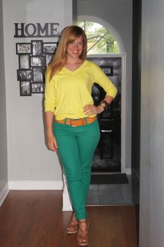 Lemon + Lime = Summer!  Green Jeans and Neon Yellow Top :)