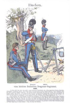 Band III #32.- Baden: Dragoner und Offizier vom leichten Badischen Dragoner-Regiment. 1809.