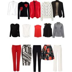 Work capsule wardrobe in black, red and white. 150 outfit combinations from 15 pieces. by elizabethtennent on Polyvore featuring Uniqlo, Dolce&Gabbana, 3.1 Phillip Lim, Splendid, M&Co, Banana Republic, Alexander McQueen, Armani Collezioni, Roland Mouret and Halston Heritage