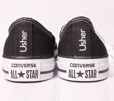 d7cd241a7c17 Wedding Converse customised with Usher down the heel. Converse Heels