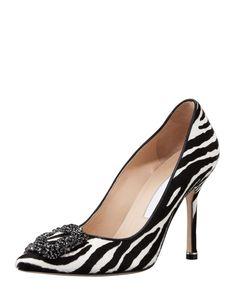 0583ea778 $1195 - Hangisi Zebra-Print Calf Hair Pump Exclusively ours. The Manolo  Blahnik screen