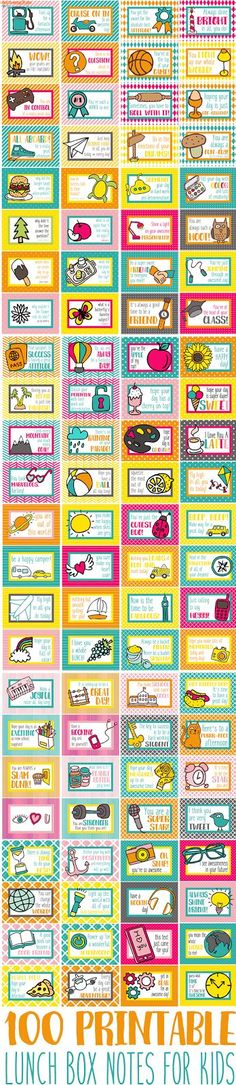 100+ Printable Lunch Box Notes! Perfect to tuck in school lunches for kiddos who like a little love from home in the middle of the day!