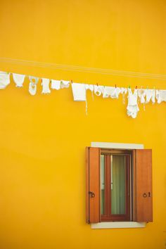 A yellow house in Burano, Italy.