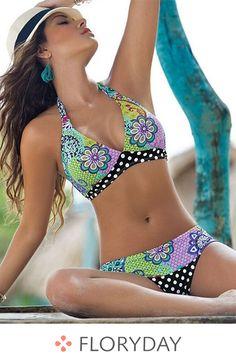 efc1baeb526d Spandex Halter Flowers Bikinis Swimwear