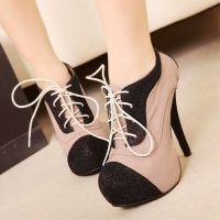 Platforms High Heel Lace Ups Color Block Stilettos New Round Toe Shoes
