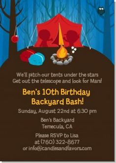 Campout birthday invitation party ideas pinterest birthdays camping birthday party invitations stopboris Gallery