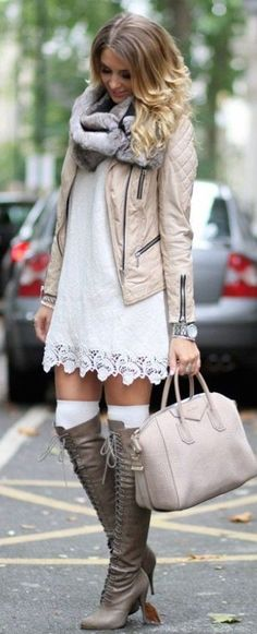 #winter #fashion / crochet dress + leather jacket