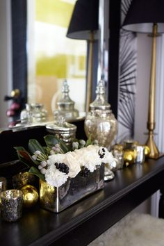 Meredith Heron Design - Foyer Holiday Decor Let loose and decorate a buffet like this. Gorg!