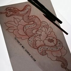 #muetattooer #schweresee #stendal #snake #drawing #sketch #germantattooer #peonies #peony