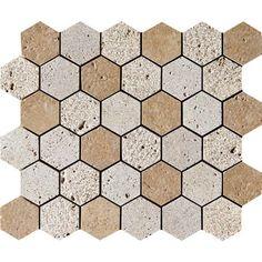 Walnut Dark Textured 10 3/8x12 Hexagon Travertine Mosaics