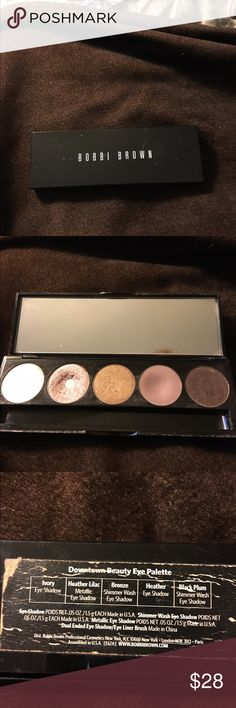 "Bobbi Brown ""downtown beauty"" used eye palette Two of the colors are well used the heather lilac and the Heather. The other three are hardly used at all they are ivory bronze and black plum. There is no brush with the set. Make offer Bobbi Brown Makeup Eyeshadow"