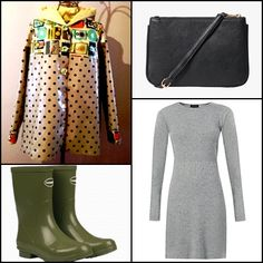 Grey long sleeve skater #dress @newlookfashion ~~ Helios mid #rainboots @havaianaseurope ~~ #Raicoat @lanakllanak ~~.