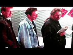 From The Full Monty: the guys in the unemployment line get the idea for their brilliant dance act....