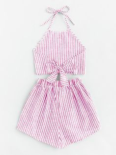 Halter Neck Striped Bow Open Back And Shorts Set Cute Summer Outfits, Trendy Outfits, Fall Outfits, Kids Outfits, Cute Outfits, Teen Fashion, Fashion Outfits, Two Piece Outfit, Diy Clothes