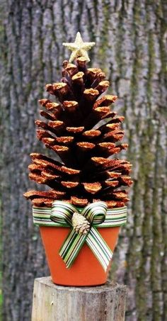 Glittered Holiday Pinecone Tree in Russett large - LoveItSoMuch.com