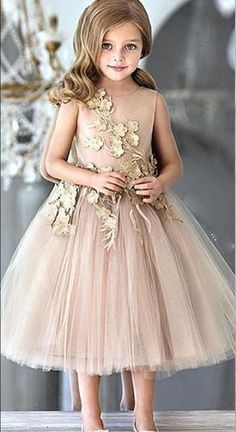 Flower Girls Dresses For Weddings Champagne Tulle Appliques Tea Length A  Line Girls Pageant Gowns Zipper Back Customized Kids Party Dress b1944e8ed272