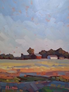 "Heidi Malott Original Paintings: Contemporary Abstract Impressionism 9x12"" Rural La..."