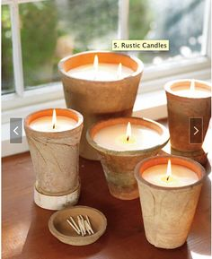 RUSTIC CANDLES - Melt down the dregs of burned-out candles to make new ones in old flowerpots. You'll give both items a new lease on life. 1. Scrub the inside of the pot only, leaving the outside aged. 2. Use a coin to cover the drainage hole in the bottom. 3. Insert a ready-made stiff cotton wick (sold at craft stores) or make your own wick out of cotton twine. To hold the wick upright, tie one end loosely to a pencil laid across the top of the pot. 4. Melt chunks of old candles in a pot…