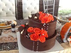 Orange and brown wedding cake