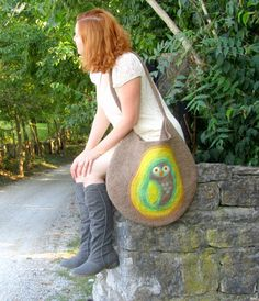 Owl Bag. Wet Felted Bag. Large Handmade Felt Tote. Fall Fashion by HandiCraftKate on Etsy $99