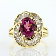 Pink Tourmaline and Baguette Diamond Ring - 30-91-1966 - Lang Antiques