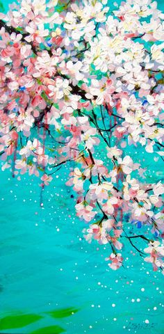 Fragrant spring cherry blossoms hanging low over turquoise water. Nice thick paint with great textures with drips and runs. Cherry Blossom Painting, Acrylic Painting Flowers, Large Painting, Cherry Blossoms, Acrylic Art Paintings, Painted Flowers, Painting Abstract, Painting Art, Body Painting