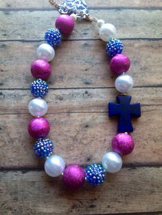 Deep blue chunky cross necklace RTS by BellaStoneBoutique on Etsy