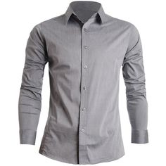 FLATSEVEN Mens Slim Fit Basic Dress Shirts Long Sleeve (115 BRL) ❤ liked on Polyvore featuring mens, men's clothing, men's shirts and men