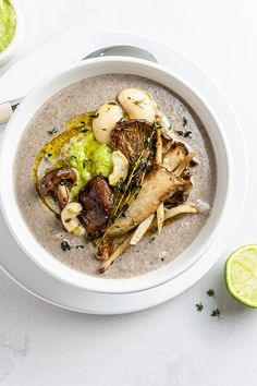 Made with a blend of cashews and white beans and topped with a leek purée, this vegan king oyster mushroom soup is creamy, hearty, and nutritious. vegan mushroom soup,king oyster mushroom soup,oyster mushroom soup vegan,cream of oyster mushroom soup,no cream mushroom soup #vegan #govegan #dairyfree #glutenfree #recipe #cooking #food Pureed Food Recipes, Vegetarian Recipes, Cooking Recipes, Healthy Recipes, Pescatarian Recipes, Cooking Food, Oyster Mushroom Recipe, Mushroom Soup Recipes, Creamed Mushrooms