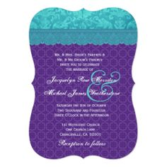 Aqua Blue Damask and Purple Wedding Template A06 5x7 Paper Invitation Card