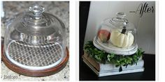 Great display idea, Fall or any season . . . even every-day decor! Drab to Fab: Upcycled Cheese Cloche