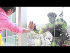 Window washers dress up like superheroes and visit our patients!-Cute video from visit